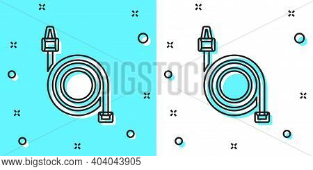 Black Line Fire Hose Reel Icon Isolated On Green And White Background. Random Dynamic Shapes. Vector