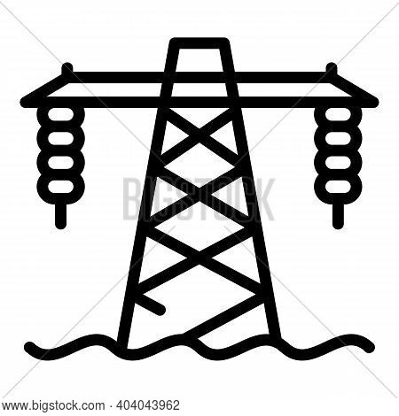 Hydro Power Tower Icon. Outline Hydro Power Tower Vector Icon For Web Design Isolated On White Backg