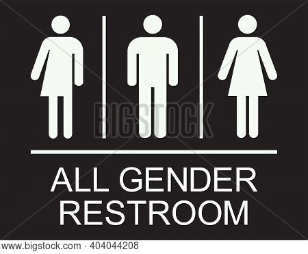 All Gender Restroom Sign. White On Light Black Background. Perfect For Business Concepts, Mall,resta