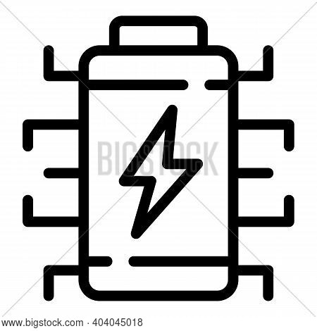 Battery Consumption Icon. Outline Battery Consumption Vector Icon For Web Design Isolated On White B