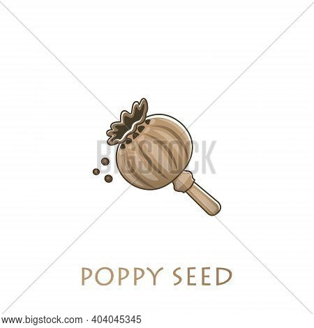 Poppy Box And Poppy Seeds On A Light Background. Vector Illustration