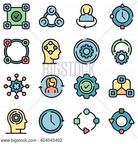 Adapt To Changes Icons Set. Outline Set Of Adapt To Changes Vector Icons Thin Line Color Flat On Whi