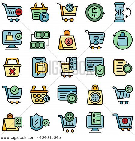 Purchase History Icons Set. Outline Set Of Purchase History Vector Icons Thin Line Color Flat On Whi