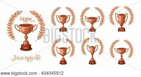 Bronze Trophy Cups With Laurel Wreaths. Trophy Award Cups Set With Different Shapes - 3rd Place Winn