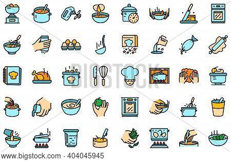 Hands Preparing Foods Icons Set. Outline Set Of Hands Preparing Foods Vector Icons Thin Line Color F