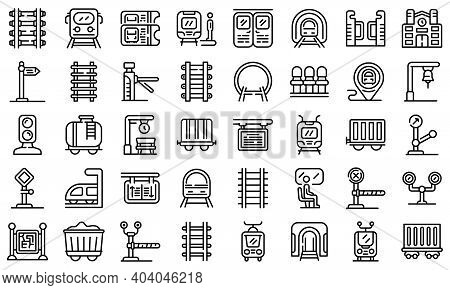 Railway Platform Icons Set. Outline Set Of Railway Platform Vector Icons For Web Design Isolated On