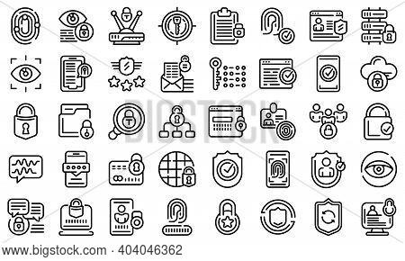 Privacy Icons Set. Outline Set Of Privacy Vector Icons For Web Design Isolated On White Background