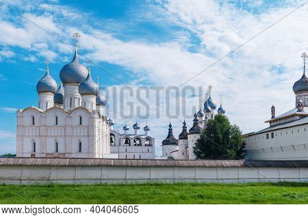 Golden Ring Of Russia.the Kremlin Wall Of The Ancient Rostov Kremlin. Cathedral Of The Assumption.