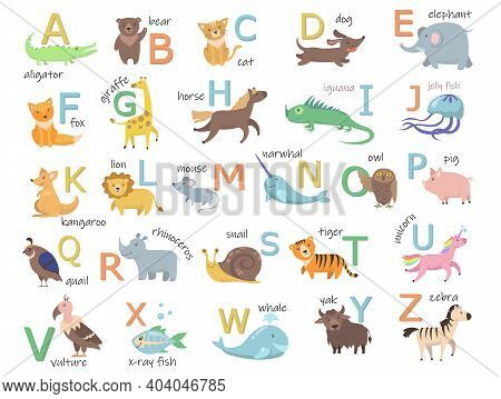 Colorful Zoo Alphabet With Cute Animals Flat Illustration Set. Cartoon Letters From A To Z For Child
