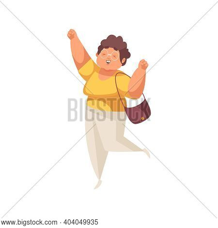 Flat Icon Of Happy Plump Woman In Glasses Leaping With Joy Vector Illustration