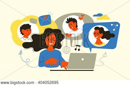 Vector Illustration In A Flat Style. Social Media Networks, Messages, Friends Search, Video, Chat, I