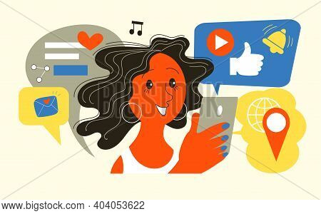 Vector Illustration. Girl Holding A Mobile Phone With Application Icons. Social Networks.