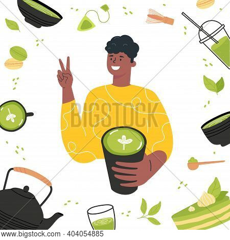 Green Matcha Tea Serve And Drink By A Young Man. Matcha Latte Healthy Drink. Various Tea Products Ma