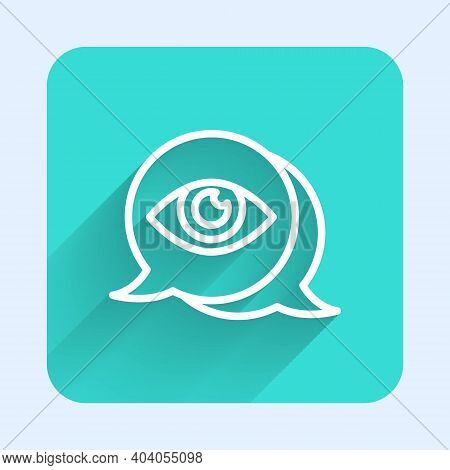 White Line Eye Scan Icon Isolated With Long Shadow. Scanning Eye. Security Check Symbol. Cyber Eye S