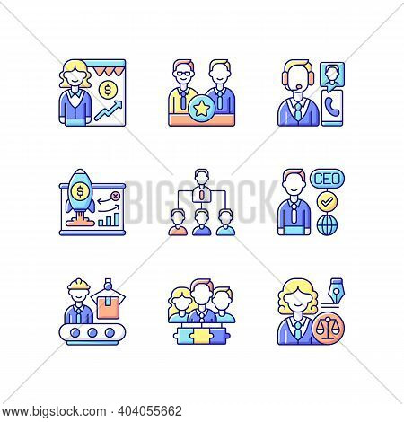 Corporate Hierarchy Rgb Color Icons Set. Sales Department. Executive Staff. Customer Service. Tradit