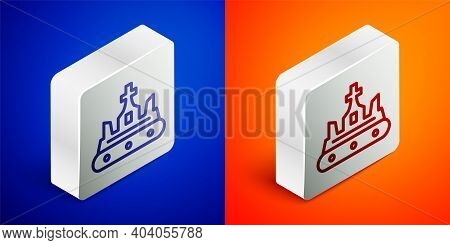 Isometric Line British Crown Icon Isolated On Blue And Orange Background. Silver Square Button. Vect