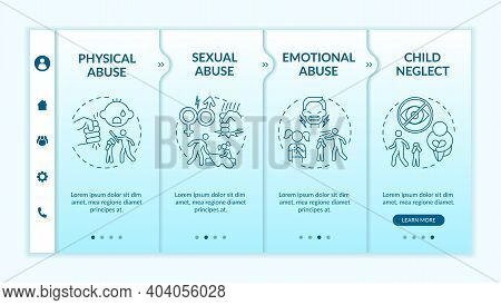 Children Abuse At Home Onboarding Vector Template. Physical Violence. Sexual Assault. Emotional Trau