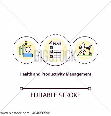 Health And Productivity Management Concept Icon. Offer Productivity Management Programs. Improve Hea