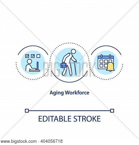 Aging Workforce Concept Icon. Eldery People As Employees On Working Place. Less Productivity From Ol