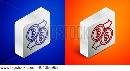 Isometric Line Cryptocurrency Exchange Icon Isolated On Blue And Orange Background. Bitcoin To Dolla