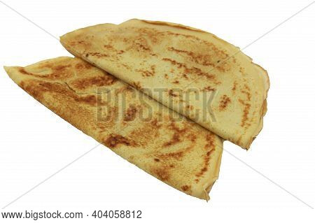 Fresh Homemade French Crepes On White Background.
