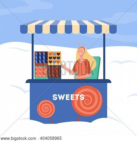 Woman Selling Sweets From Stall. Trolley, Kiosk, Candy, Lollypop. Flat Vector Illustration. Street F