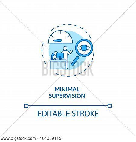 Minimal Supervision Concept Icon. Staff Training Idea Thin Line Illustration. Self-aware, Self-monit