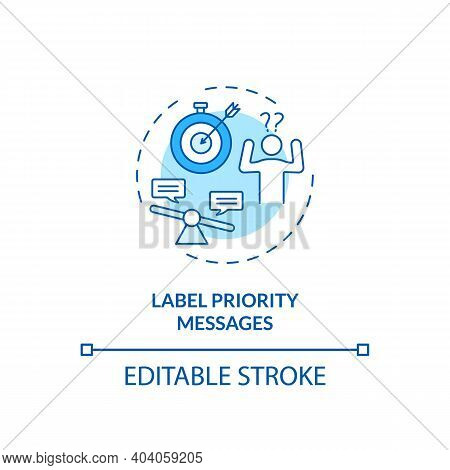 Labeling Priority Messages Concept Icon. Staff Reboarding Tip Idea Thin Line Illustration. Identifyi