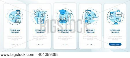 Staff Development Methods Onboarding Mobile App Page Screen With Concepts. On-the-job Training, Appr