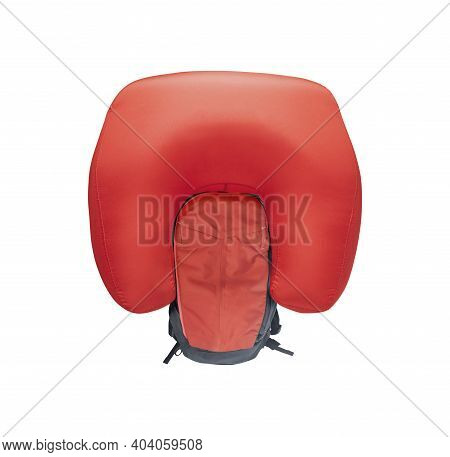 Inflated Avalanche Airbag Backpack Isolated On White Background