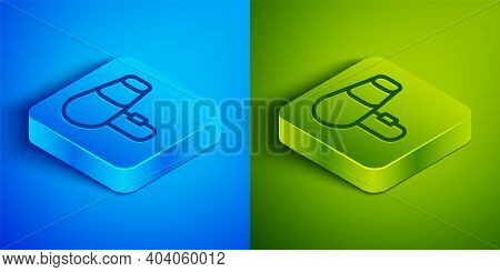 Isometric Line Hair Dryer Icon Isolated On Blue And Green Background. Hairdryer Sign. Hair Drying Sy