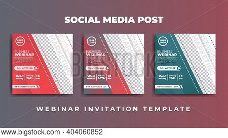 Social Media Post Design. Set Design Of Social Media Advertisement With Red And Green Color. Good Te