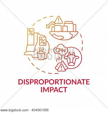 Disproportionate Impact Concept Icon. Developing Country Idea Harmful Impact Thin Line Illustration.