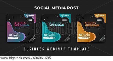 Social Media Post Design. Set Design Of Social Media Advertisement With Green Black, Pink Green, And