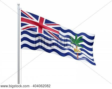 British Indian Ocean Territory (british Overseas Territory) Flag Waving On White Background, Close U