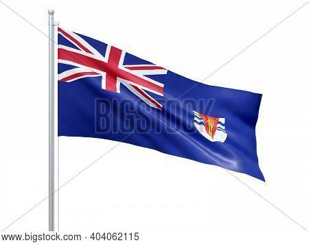 British Antarctic Territory (british Overseas Territory) Flag Waving On White Background, Close Up,