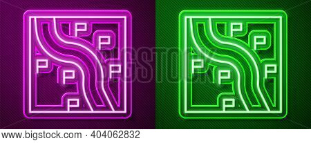 Glowing Neon Line Route Location Icon Isolated On Purple And Green Background. Train Line Path Of Tr