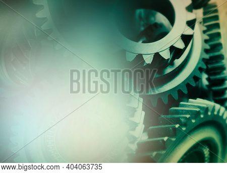 Close-up of metal cog wheels