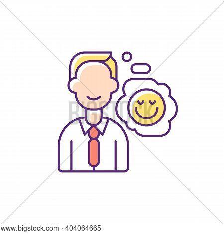 Positive Attitude Rgb Color Icon. Optimistic Employee. Personal Achievement. Core Corporate Values.