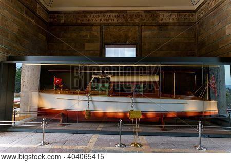 Istanbul, Turkey - 14 December 2020: Private Boat Of Ataturk In Anitkabir.