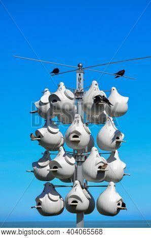 Usa, Ohio -  April 26, 2018: Nests For Birds. Lorain Harbor, Ohio, Usa
