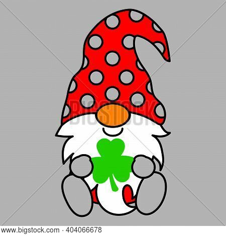 Gnome Saint Patrick Lucky, Irish, Shamrock With Clover Leave, Cute Fantacy Fairytale Dwarf With Red