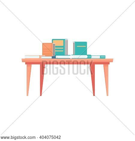 Books On Wooden Table At Bookshop Icon On White Background Flat Vector Illustration