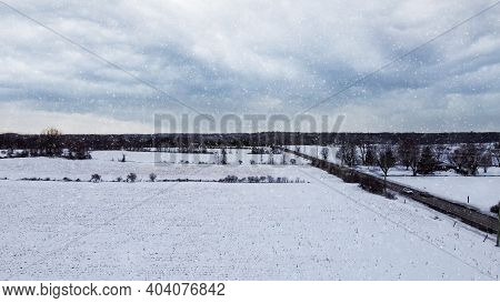 Aerial View Of A Corn Field Covered By Snow, Snow Falling, Dark Mood, Snow Storm, Near Huntmar Drive
