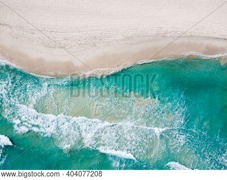 Drone Photo Of Empty Playa Ballenas, Cancun, Mexico