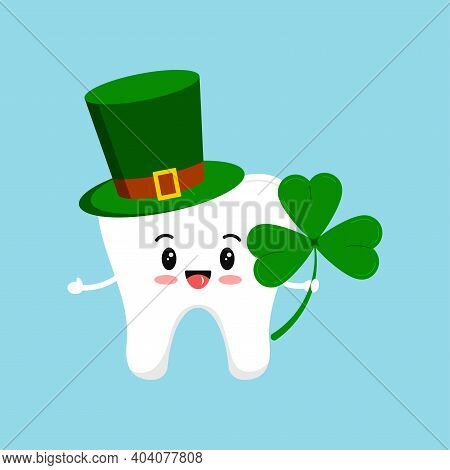 St Patrick Tooth In Leprechaun Hat And Shamrock In Hand. Dental Tooth Irish Character With Three Lea