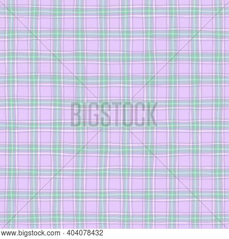 Pink Lilac Lavender Green Vintage Checkered Background. Space For Graphic Design. Checkered Texture.