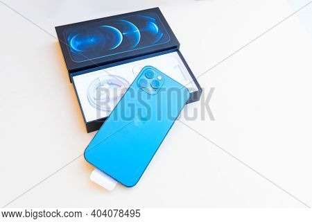 Puerto Cruz, Spain - January 05, 2020: Box With New Iphone 12 Pro