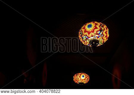 Mosaic Turkish Lantern. Moroccan Ornamental Lamp With Dark Night Background. Arabic Festive Decorati