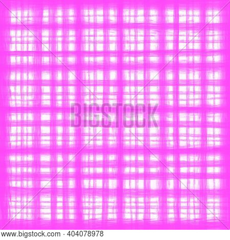 Bright Pink Magenta White Vintage Checkered Background With Blur, Gradient And Grunge Texture. Class